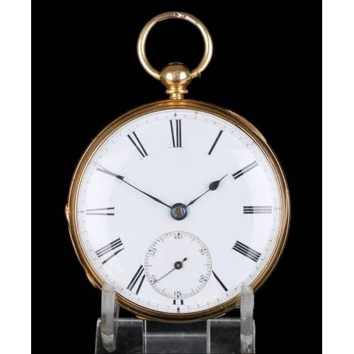 Antiguo reloj de bolsillo escocés en oro de 18K por Daniel Buchanan. Glasgow 1858