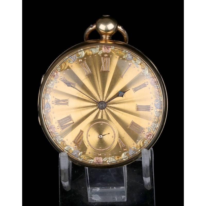 Antiguo Reloj de Bolsillo de 18K por Henry Sharples. Inglaterra, 1833