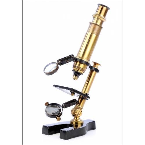 Antiguo Microscopio Monocular de Estudiante. Circa 1900