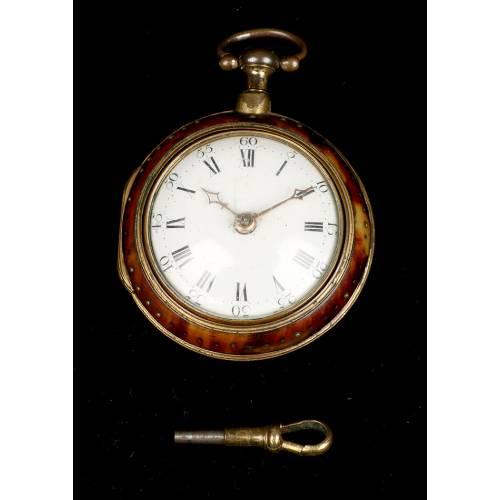 Antiguo Reloj Catalino de Dos Cajas por Hayward. Fechado 1775.