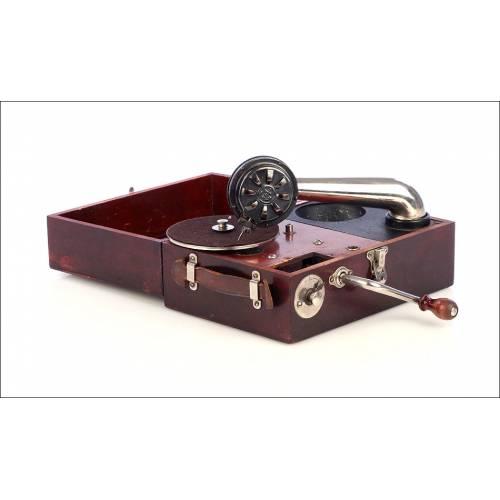 Antiguo Gramófono de Viaje Suizo Paillard Maestrophone. Suiza, Circa 1925