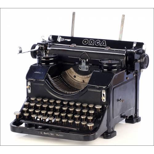 Antigua Máquina de Escribir Orga Mod. 2. Con Símbolos de las SS. Alemania, Años 40