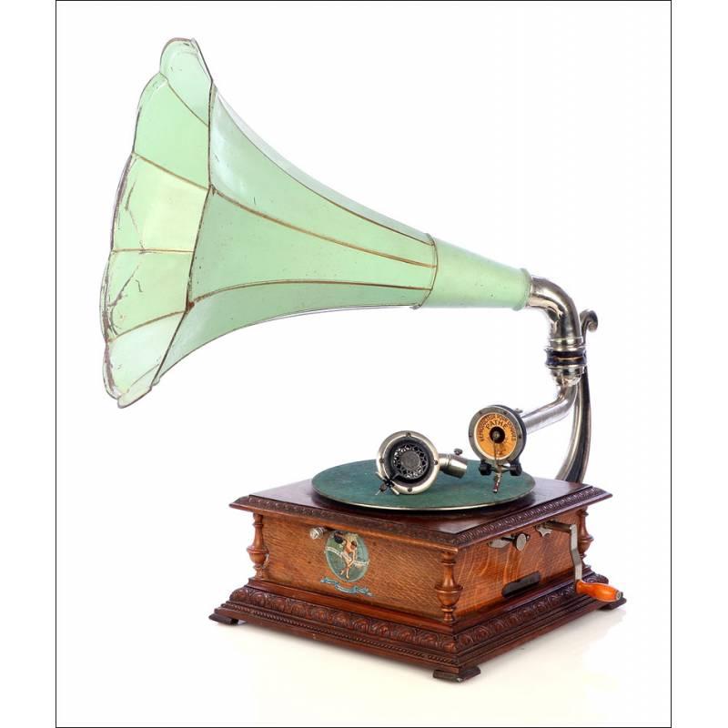 Gramófono de Trompeta Pathephone 6. Con Dos Reproductores. Francia, 1915