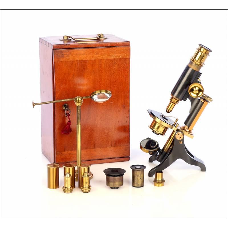Antiguo Microscopio Compuesto inglés. Completo. Inglaterra, Circa 1900