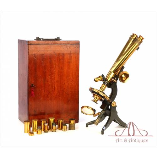 Espectacular Microscopio Binocular Antiguo Swift & Son. Inglaterra, Circa 1920