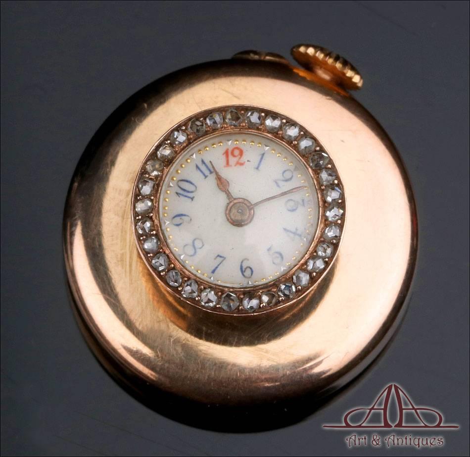 Reloj de Ojal Antiguo. Oro de 18 K y Diamantes. Francia