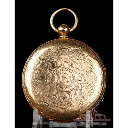 Precioso Reloj de Bolsillo Antiguo Semi-Catalino Inglés. Oro 18K. Inglaterra, 1874