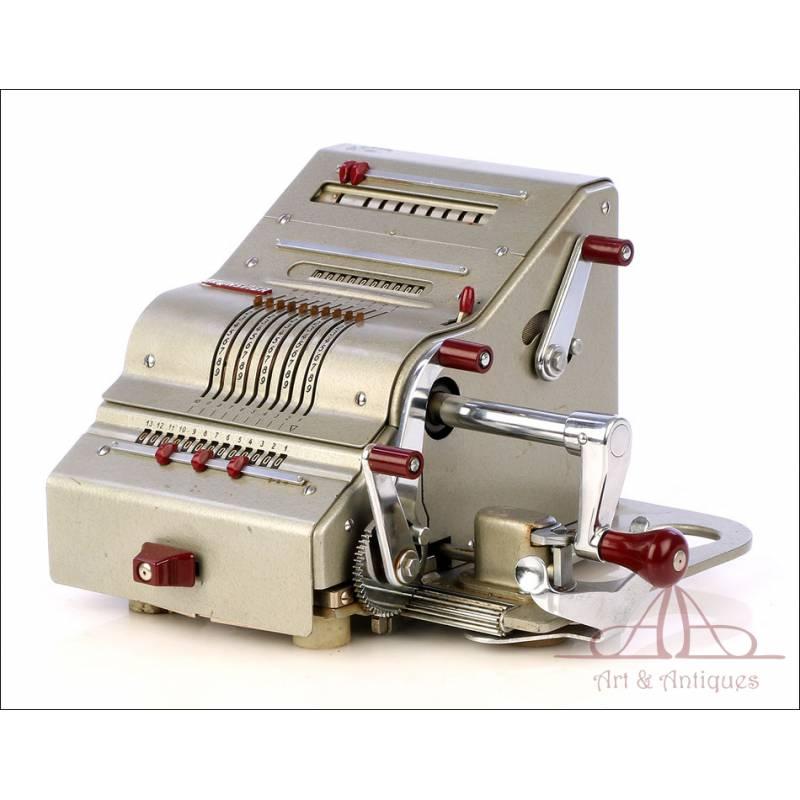 Antigua Calculadora Mecánica Brunswiga 13 RK. Alemania, Años 50