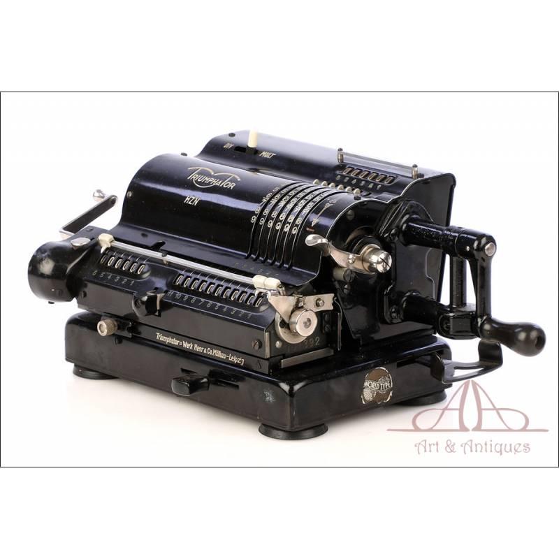 Preciosa Calculadora Mecánica Antigua Triumphator HZN. Alemania, 1937