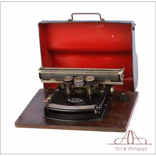 Antigua Máquina de Escribir Tipo Índex Write Easy. Alemania, Circa 1900.