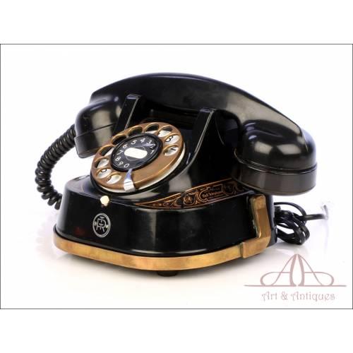 Antiguo Teléfono Belga de Metal Bell. Funciona. Bélgica, Años 30