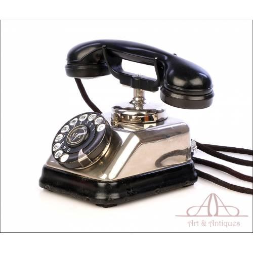 Antiguo Teléfono Danés KTAS. En Perfecto Estado de Funcionamiento. Dinamarca, Años 20