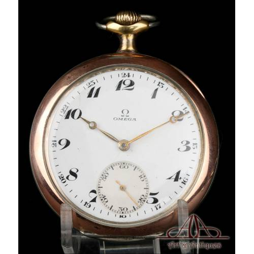 Antiguo Reloj de Bolsillo Omega, en Plata Maciza. Suiza, Circa 1920