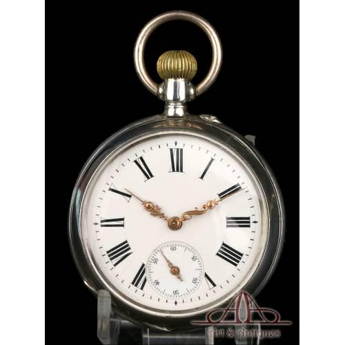 Reloj de Bolsillo Antiguo de Plata. Circa 1890.