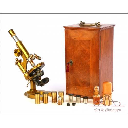 Fantástico Microscopio Antiguo de Latón E. Leitz Wetzlar. Alemania, 1893