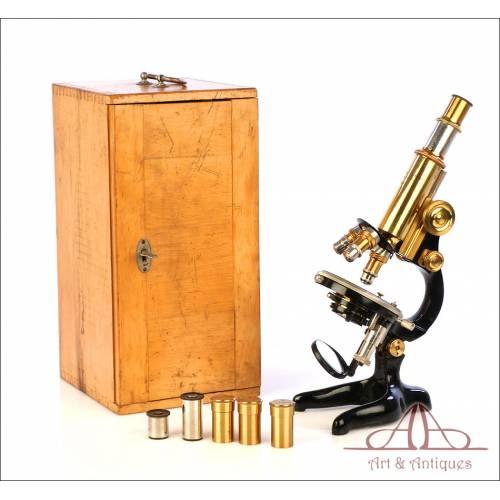 Fantástico Microscopio Antiguo Waldemar Strauss. Berlín, Alemania, Circa 1910