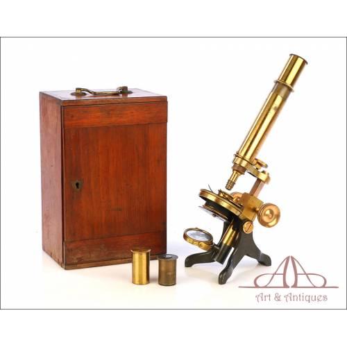 Antiguo Microscopio Compuesto Inglés Walter Lawley. Inglaterra, Circa 1880