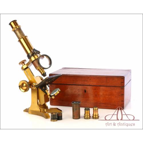 Rarísimo Microscopio Inglés Antiguo de Latón Pillischer. Inglaterra, Circa 1890