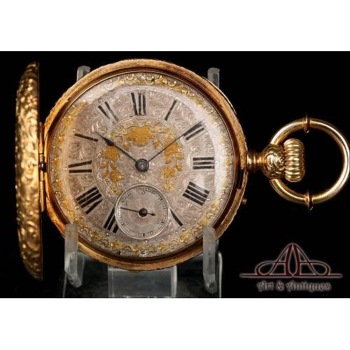 Espectacular Reloj de Bolsillo Ginebrino Antiguo, Oro 18 K. Suiza, Circa 1900