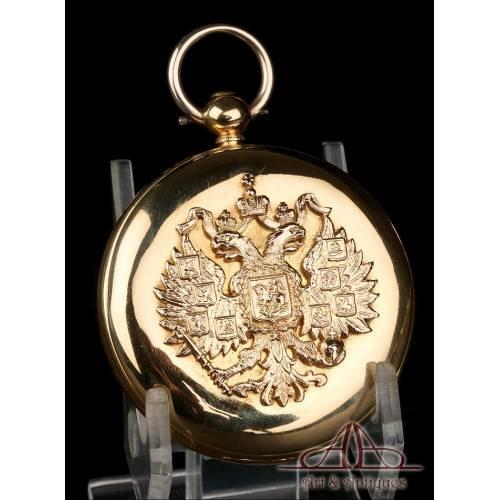 Antiguo Reloj de Bolsillo Inglés. Escudo Imperial Ruso. 18 K. Inglaterra, 1846
