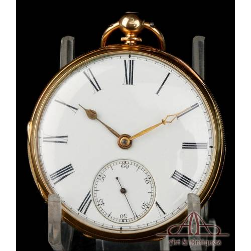 Antiguo Reloj de Bolsillo Semi-Catalino. Oro de 18K. Jones. Inglaterra, 1869