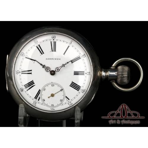 Antiguo Reloj de Bolsillo Longines en Plata 925. Circa 1880