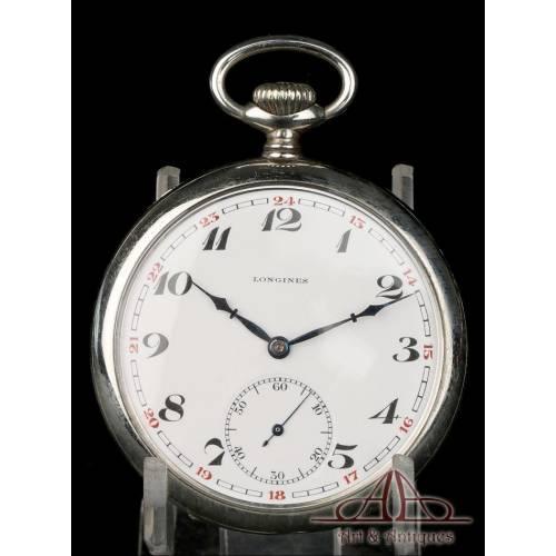 Antiguo Reloj de Bolsillo Longines. Metal Plateado. Circa 1930