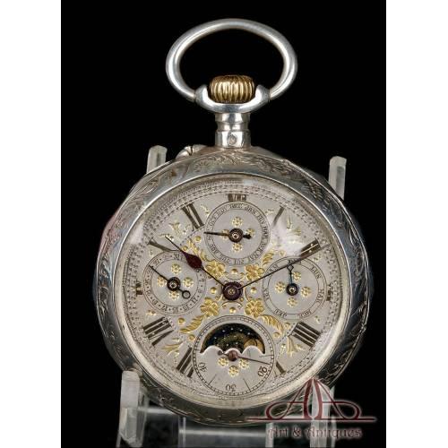 Antiguo Reloj de Bolsillo con Calendario y Fase Lunar en Plata. Francia, Circa 1880