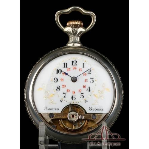 Antiguo Reloj de Bolsillo Tipo Hebdomás. San Jorge y el Dragón. Circa 1920