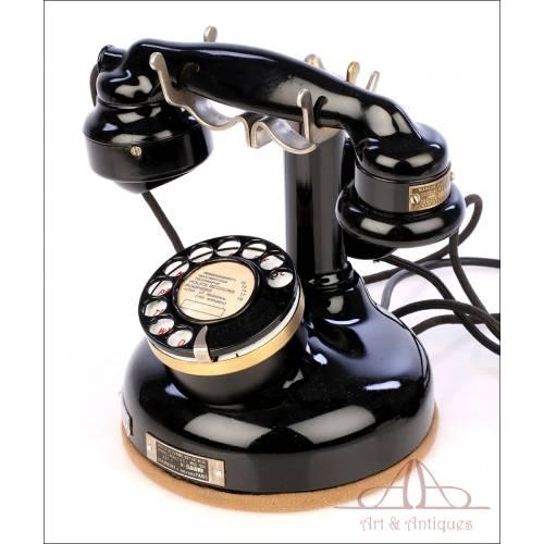 Antiguo Teléfono Francés de Metal con Auricular Auxiliar. Francia, Años 30