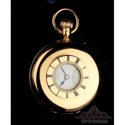Antiguo Reloj de Bolsillo Semi Cazador Allamand en Oro de 18K. Estuche. Inglaterra, 1926
