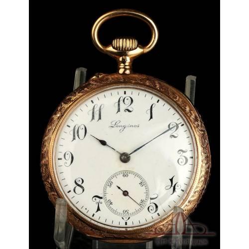 Antiguo Reloj de Bolsillo Longines en Oro de 18K. Suiza, Circa 1900