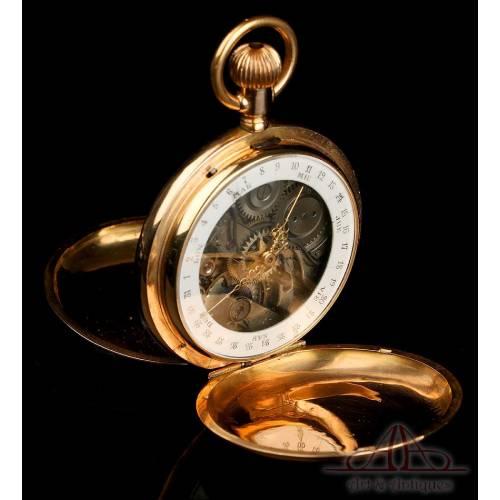 Rarísimo Reloj de Bolsillo Antiguo de Doble Dial. Calendario. 18K. Suiza, Circa 1900