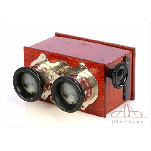 Antique Richard Frères Stereo Viewer for 45x107 Plates. France, Circa 1900
