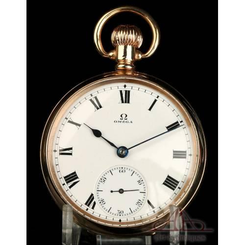 Antiguo Reloj de Bolsillo Omega Chapado en Oro. Suiza, Circa 1920