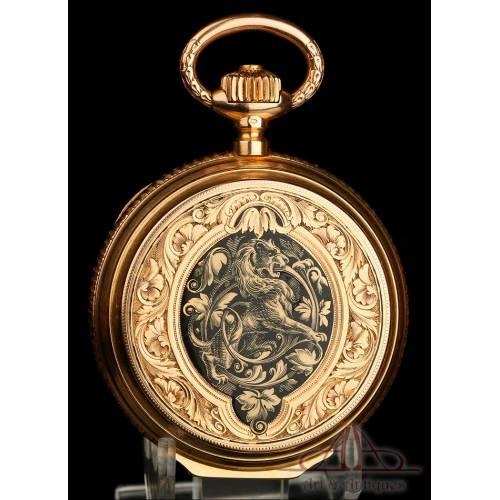 Reloj de Bolsillo Huguenin & Fils Antiguo. Oro de 18K. Suiza, Circa 1900