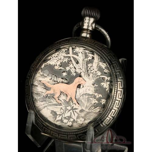 Antiguo Reloj de Bolsillo de Tres Tapas en Plata Nielada. Austria-Hungría, Circa 1900