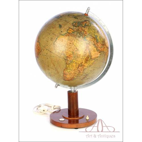 Antique Columbus Worl Globe-Lamp. Germany, Circa 1935