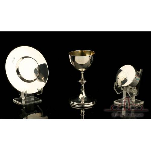 Antique Solid-Silver Travel Chalice with Paten and Host Box. England, 1925