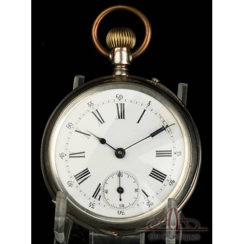 Antiguo Reloj de Bolsillo de Metal Plateado. Alemania, 1903