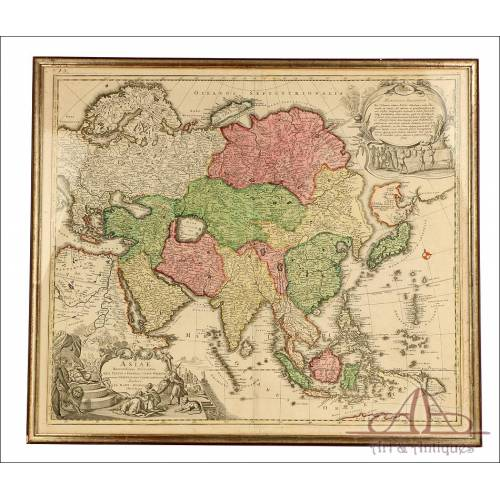 Antiguo Mapa de Asia por Johann Baptist Homann. Núremberg, Alemania, 1730