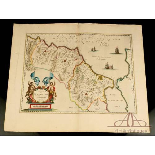 Antiguo Mapa del Reino de Marruecos y Fez. Abraham Ortelius. Holanda, Circa 1641