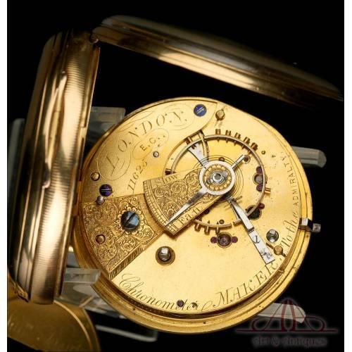 Antiguo Reloj de Bolsillo Semi-Catalino William Bent en Oro de 18K. Inglaterra, 1866