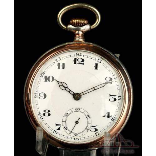 Antiguo Reloj de Bolsillo en Plata Maciza. Alemania, Circa 1930