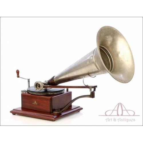 Antiguo Gramófono Berliner. Extraordinario. Funcionando. Modelo 3. Francia, Circa 1895.