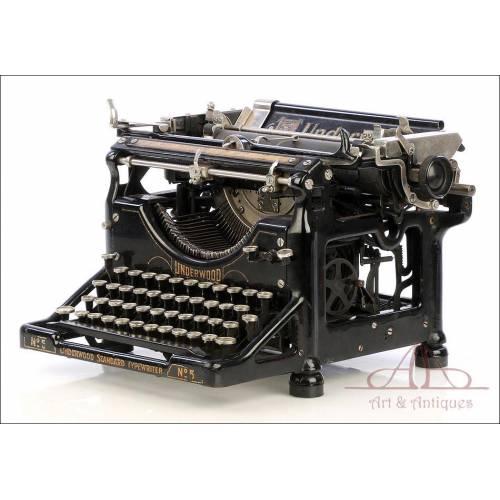 Antigua Máquina de Escribir Underwood 5. Teclado Español. USA, Circa 1920