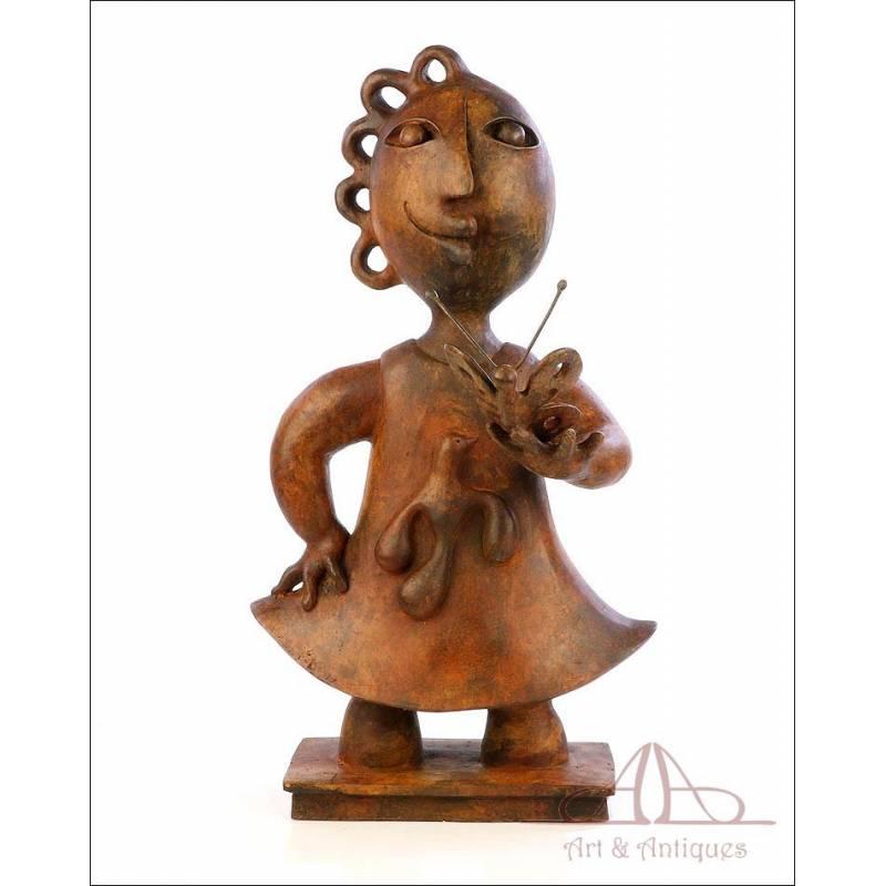 """Escultura de bronce Joan Ripollés """"La niña de la mariposa"""". Prueba de artista Nº 2 de 4"""