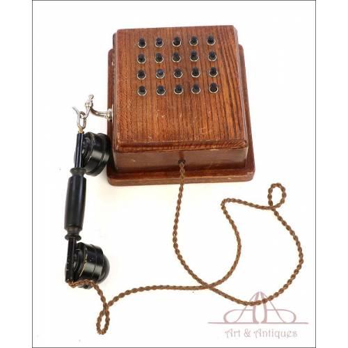 Antiguo Teléfono Comunicador Interno de fábrica. Completo. Circa 1900