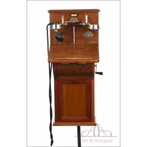 Antiguo Teléfono de Pared Ericsson. Suecia, Circa 1910