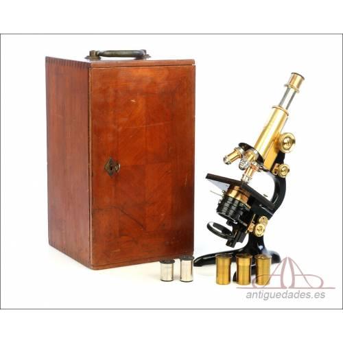 Antiguo Microscopio E. Leitz Wetzlar. Extraordinario. Alemania, 1911